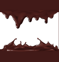 chocolate splash flow drops 3d vector image