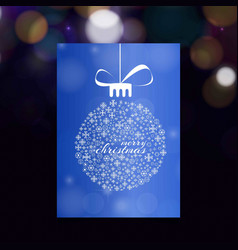 christmas card with blue background and snow vector image