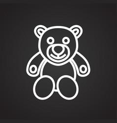 Christmas gift bear thin line on black background vector