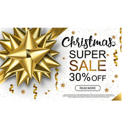 Christmas sale header with golden band serpantine vector