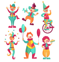 Circus clowns cartoon clown comedian juggling vector
