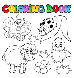 coloring book with spring animals vector image