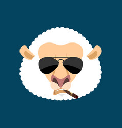 Cool sheep serious avatar of emotions ewe smoking vector