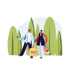 Couple adult man and woman carrying products vector