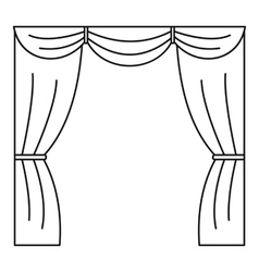 Curtain on stage icon outline style vector image