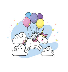 Cute unicorn with wings and balloons and clouds vector
