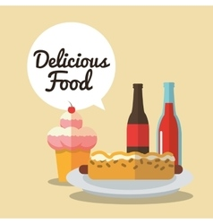 Delicius food ice cream and hot dog graphic vector
