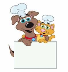 Dog and cats chefs vector