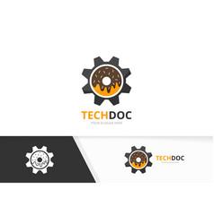 Donut and gear logo combination doughnut vector