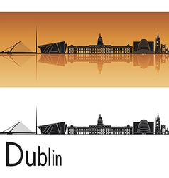 Dublin skyline in orange background vector image