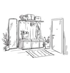 Entrance hall an apartment interior design vector