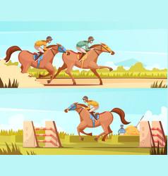 Equestrian sport horizontal banner vector