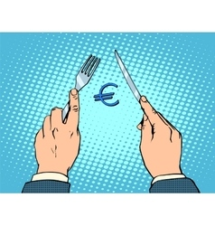 European Euro knife and fork financial concept vector image