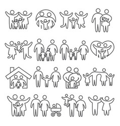 family line icons set on white background vector image