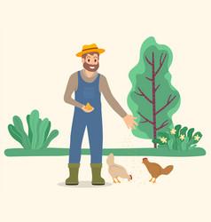 Farmer feeding chickens in countryside vector