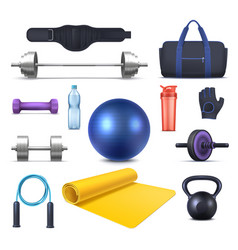 Fitness club equipment and gym garments icons vector