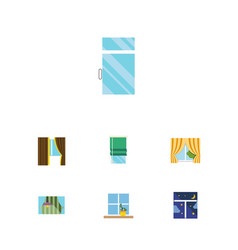 flat icon window set of frame curtain glass vector image