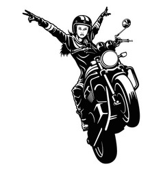 Freedom girl and motorcycle - chopper classic vector