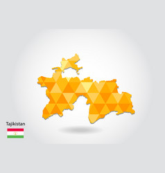geometric polygonal style map of tajikistan low vector image