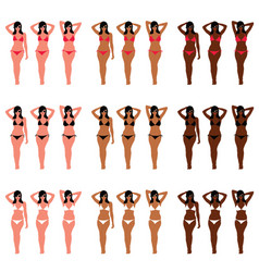 Girl in bikini figure pose set vector