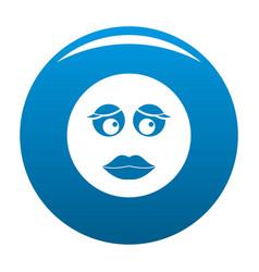 Girl smile icon blue vector