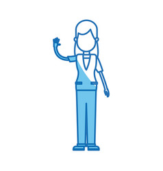 Girl standing with arm up blue line vector