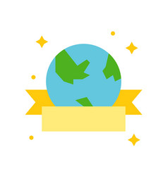 Globe or planet earth icon with ribbon flat design vector