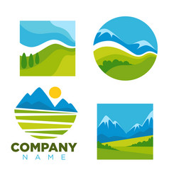 Green nature landscape icons templates for vector