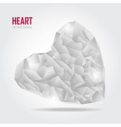 Grey Polygonal heart on white vector