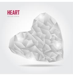 Grey Polygonal heart on white vector image vector image