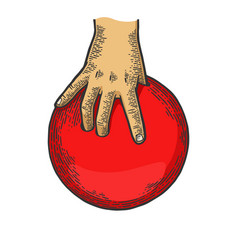Hand with bowling ball engraving vector