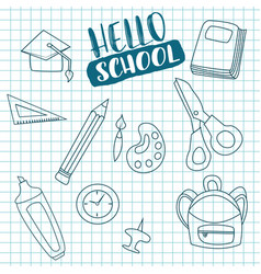 Hello school doodle greeting card vector