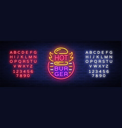 hot burger neon sign fastfood burger sandwich vector image