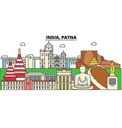India patna hinduism city skyline architecture vector