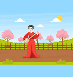 japanese girl in traditional kimono dress standing vector image