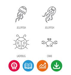 Jellyfish crab and ladybug icons vector
