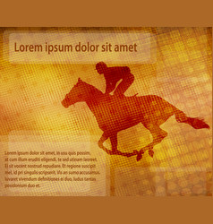 jockey on racing horse over abstract background vector image