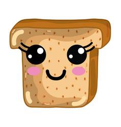 Kawaii cute happy chopped bread vector