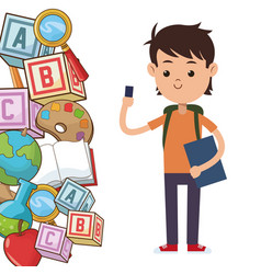 kid school bag supplies vector image