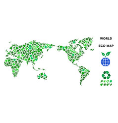 leaf green composition world map vector image