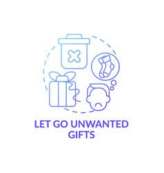 Let go unwanted presents blue gradient concept vector