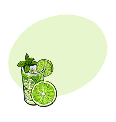 Lime slice and glass of freshly squeezed juice vector