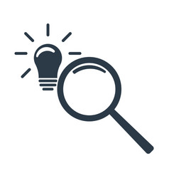 Looking for an idea magnifier and lightbulb icon vector