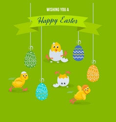 lovely chickens have fun celebrate in easter vector image