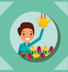 man cartoon holding watering can and flower garden vector image