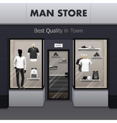 Man Sportswear Store Realistic Street View vector image