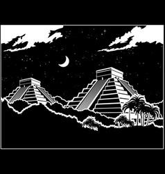 mayan pyramids at night vector image