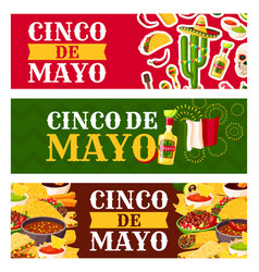 mexican cinco de mayo holiday food greeting banner vector image