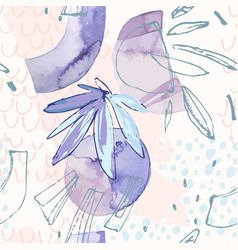 modern with tropical leaves watercolor grunge vector image