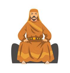 mongol khan central asian nomad man character vector image